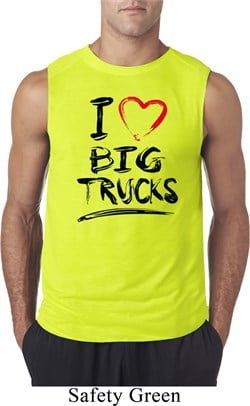 Mens Funny Shirt I Love Big Trucks Sleeveless Tee T-Shirt