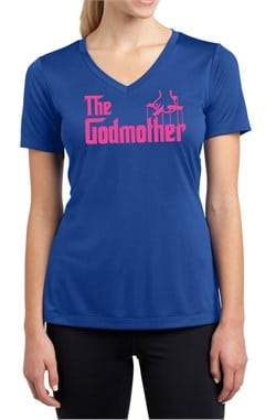 Ladies Funny Shirt The Godmother Moisture Wicking V-neck Tee T-Shirt
